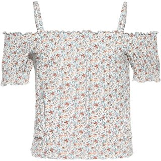 Blue Effect Carmen T-Shirt Blumen orange